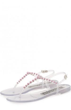 Резиновые сандалии с декором Sergio Rossi. Цвет: лиловый