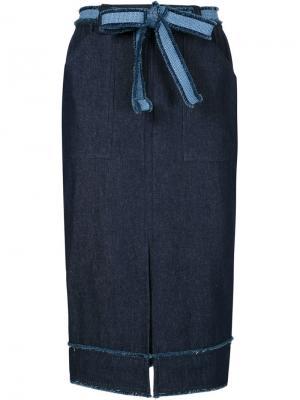 Джинсовая юбка-карандаш Timo Weiland. Цвет: синий