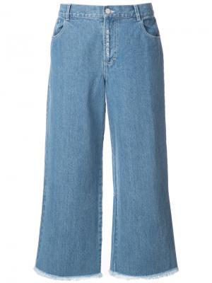 Широкие джинсы с необработанными краями Sandy Liang. Цвет: синий
