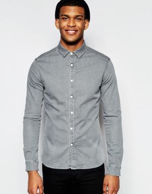 ASOS Светло-серая джинсовая рубашка скинни. Цвет: серый