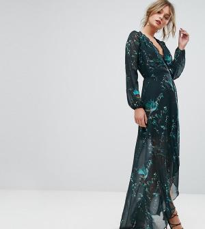 Hope and Ivy Платье макси с запахом и длинными рукавами &. Цвет: зеленый