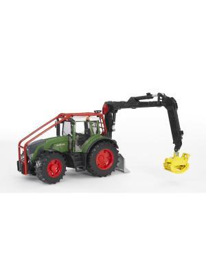 Трактор Fendt 936 Vario лесной с манипулятором Bruder. Цвет: зеленый, серый, красный