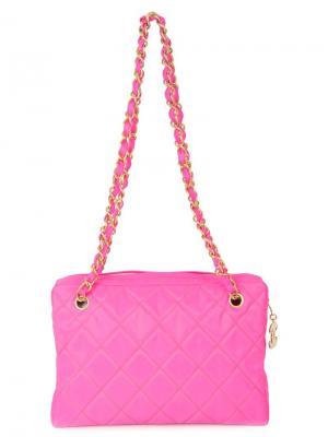 Стеганая сумка на плечо с цепочкой Chanel Vintage. Цвет: розовый и фиолетовый