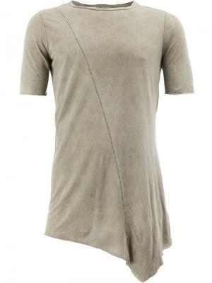 Асимметричная футболка Rock Masnada. Цвет: коричневый