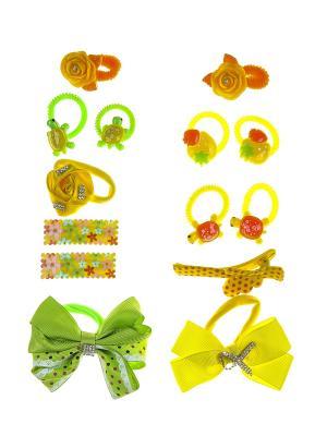 Комплект детский (Резинки - 11 шт., заколки 3 шт.) Happy Charms Family. Цвет: желтый, зеленый, оранжевый