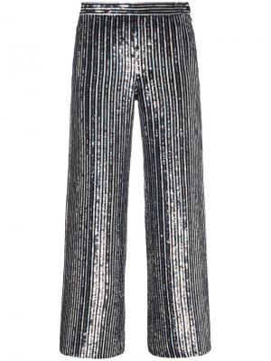 Укороченные расклешенные брюки в полоску с пайетками Ashish. Цвет: чёрный