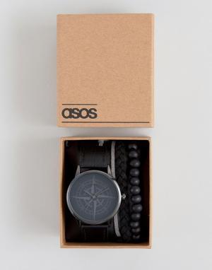 ASOS Часы с дизайном в виде компаса и браслет подарочном наборе. Цвет: черный