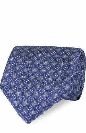 Комплект из шелкового галстука и платка Brioni. Цвет: синий