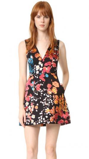 Платье-фонарик Pacey с V-образным вырезом alice + olivia. Цвет: цветочное поле прожженный