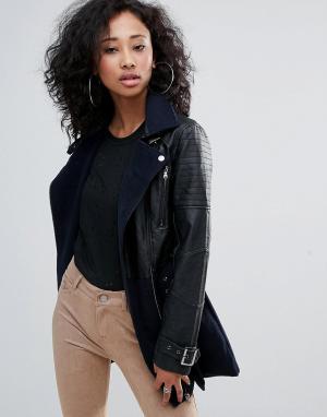 Urban Bliss Длинное байкерское пальто с ремнем. Цвет: черный