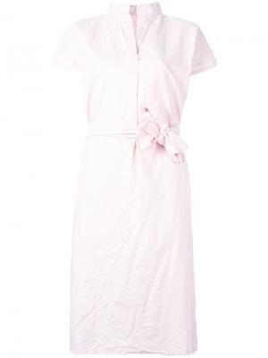 Платье-рубашка с запахом Daniela Gregis. Цвет: розовый и фиолетовый