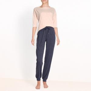 Пижама с низом из ткани меланж La Redoute Collections. Цвет: розовый/ синий