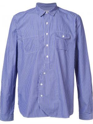 Striped pocket shirt Wooster + Lardini. Цвет: синий
