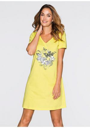Ночная сорочка. Цвет: светло-желтый с рисунком