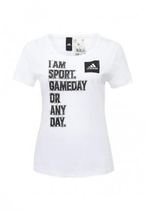 Футболка adidas Performance. Цвет: белый