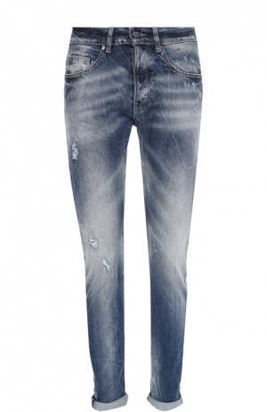 Зауженные джинсы с потертостями Frankie Morello. Цвет: синий