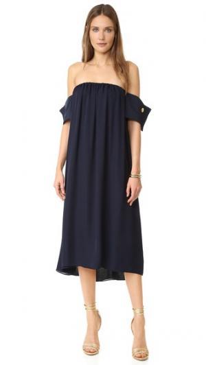 Темно-синее платье с французскими манжетами Viva Aviva. Цвет: темно-синий