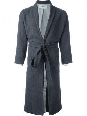 Пальто с поясом Mow. Цвет: серый