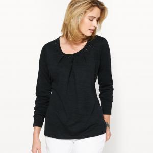 Пуловер с отделкой стразами ANNE WEYBURN. Цвет: черный