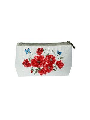 Косметичка из холста с нанесенным рисунком Матренин Посад. Цвет: бежевый, бордовый