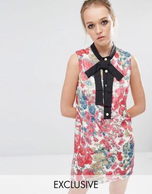 Sister jane Цельнокройное платье с цветочным принтом. Цвет: мульти