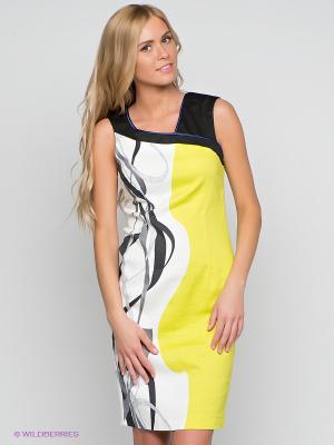 Платье LUIGI FERRO. Цвет: салатовый, белый, темно-синий