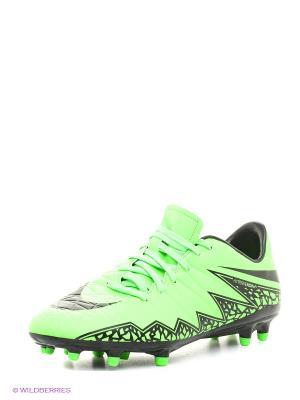 Бутсы HYPERVENOM PHELON II FG Nike. Цвет: зеленый