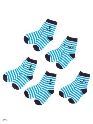 Носки детские (5 пар) HOSIERY. Цвет: бирюзовый, белый