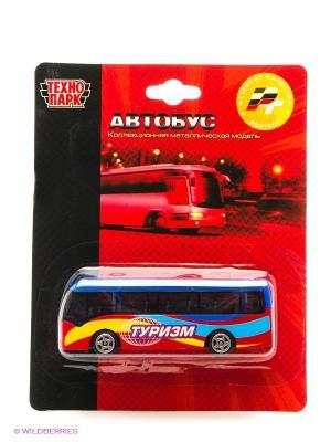 Автобус Технопарк металлический на блистере. Цвет: голубой, красный