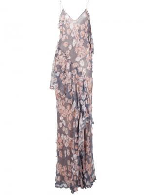 Платье в клетку с цветочной вышивкой Jason Wu. Цвет: чёрный