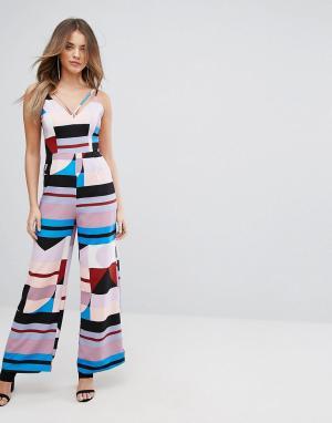 Lavish Alice Комбинезон с абстрактным принтом и широкими штанинами. Цвет: мульти