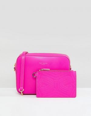 Ted Baker Кожаная сумка с ремешком-цепочкой. Цвет: розовый