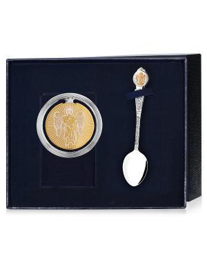 Набор Ангел частично позолоченный (закладка + ложка) футляр АргентА. Цвет: серебристый, золотистый