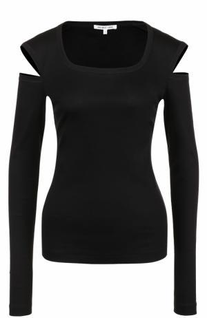 Пуловер с круглым вырезом и разрезом на рукавах Helmut Lang. Цвет: черный