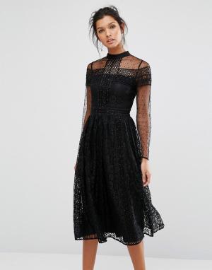 Frock and Frill Кружевное платье миди с отделкой бисером. Цвет: черный