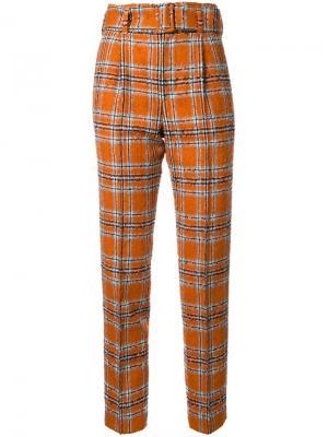 Классические брюки в клетку Taro Horiuchi. Цвет: жёлтый и оранжевый