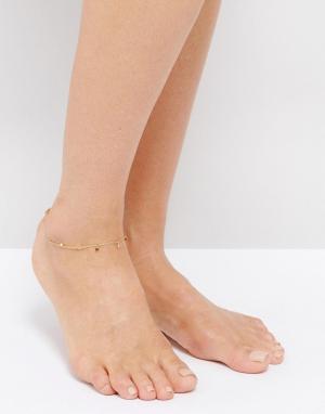 Orelia Браслет на ногу с подвесками-монетами. Цвет: золотой