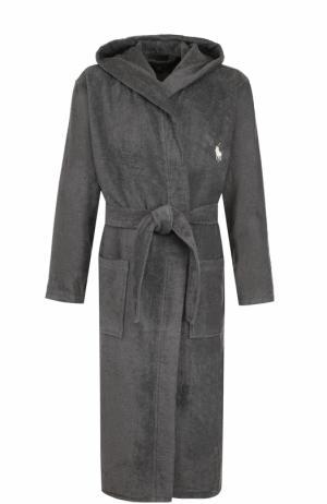 Хлопковый халат с капюшоном Polo Ralph Lauren. Цвет: темно-серый