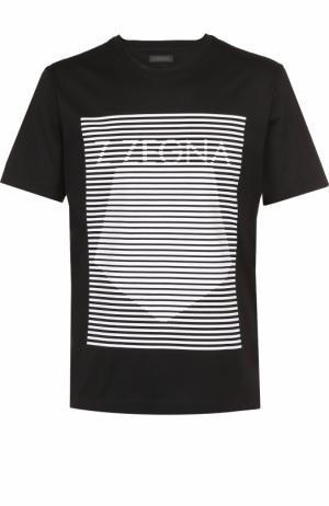 Хлопковая футболка с контрастным принтом Z Zegna. Цвет: черный