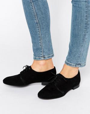Office Замшевые туфли на плоской подошве со шнуровкой Farley. Цвет: черный