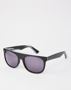 Dark Future Черные солнцезащитные очки в оправе из ацетата ручной работы Futu. Цвет: черный