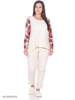 Комплект домашней одежды ( кофта, брюки) HomeLike. Цвет: красный, молочный