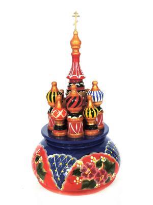 Церквушка большая с заводным механизмом красно - синяя бордовыми цветами Taowa. Цвет: красный, синий