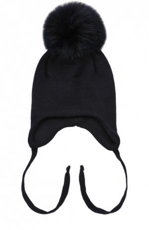 Шерстяная шапка с меховым помпоном Il Trenino. Цвет: темно-синий