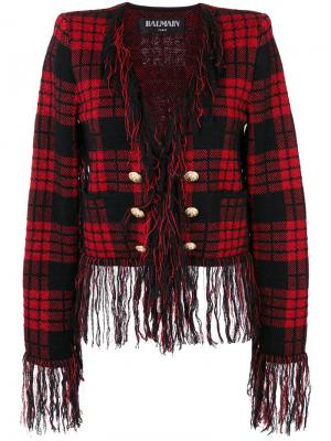 Checkered military jacket Balmain. Цвет: красный