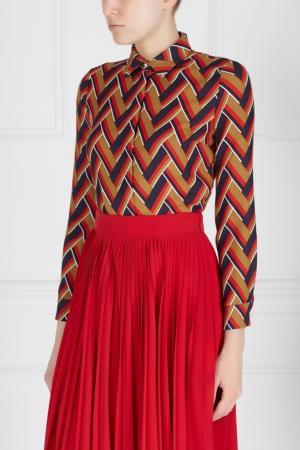Блузка из шелка и шерсти Gucci. Цвет: коричневый