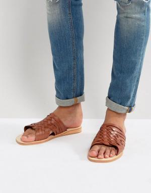 Dune Светло-коричневые кожаные сандалии. Цвет: рыжий