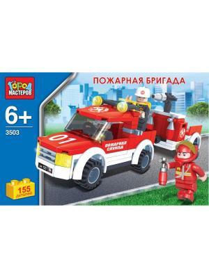 Конструктор город мастеров пожарная бригада, 155 дет.. Цвет: красный, белый
