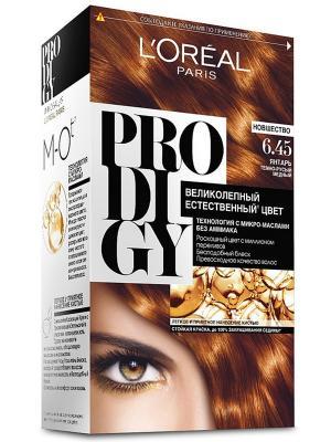 Краска для волос Prodigy без аммиака, оттенок 6.45, Янтарь L'Oreal Paris. Цвет: рыжий