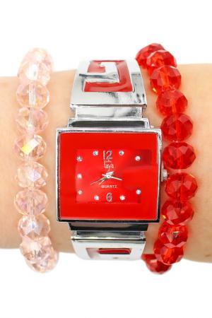 Набор: часы, браслет-2шт Taya. Цвет: серебристый, красный
